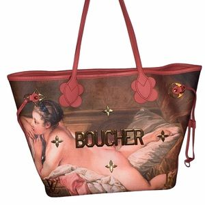 "Louis Vuitton ""Boucher"" artist Masters Collection Neverfull MM bag Jeff Koons LV"